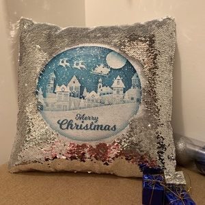 Christmas sequence pillow cover